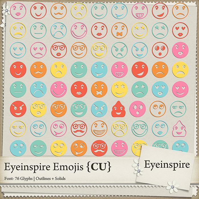 digital scrapbooking, emoji, font, dingbat, emoticon, smiley, happy face, otf, cute, commercial use, eyeinspire