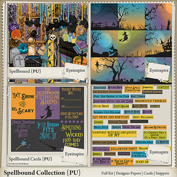 digital scrapbooking, bingo, halloween, cards, project life, scrap kit, halloween kit, bow, ribbon, flower, leaf, coffin, spider, web, sign, books, magic potions, caldron, skeleton, headstone, bat, frame, broom, moon, cross, pocket scrapbooking, scrapbooking, invitations, spooky, printable