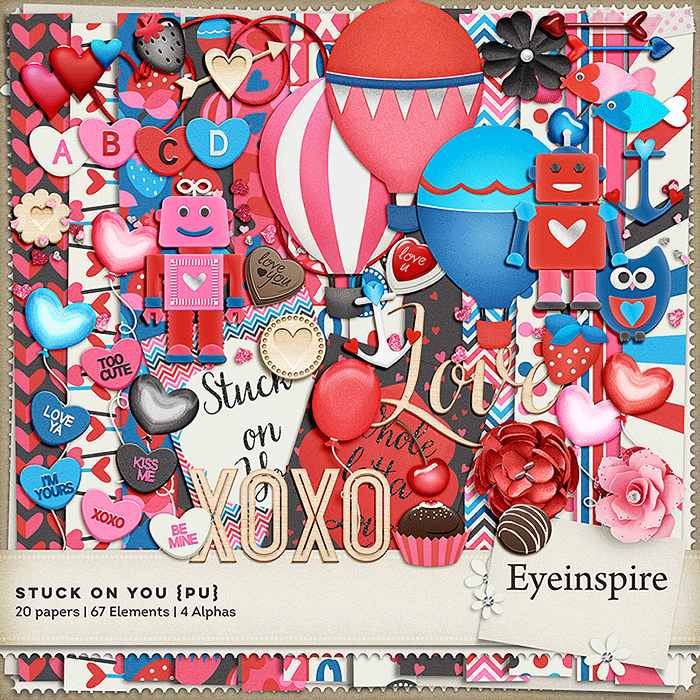 digital scrapbooking, scrapbook kit, valentine, graphics, owl, chocolate, hot air balloons, flower, strawberry, strawberries, hearts, arrows, robot, pattern, owl, alphas, eyeinspire