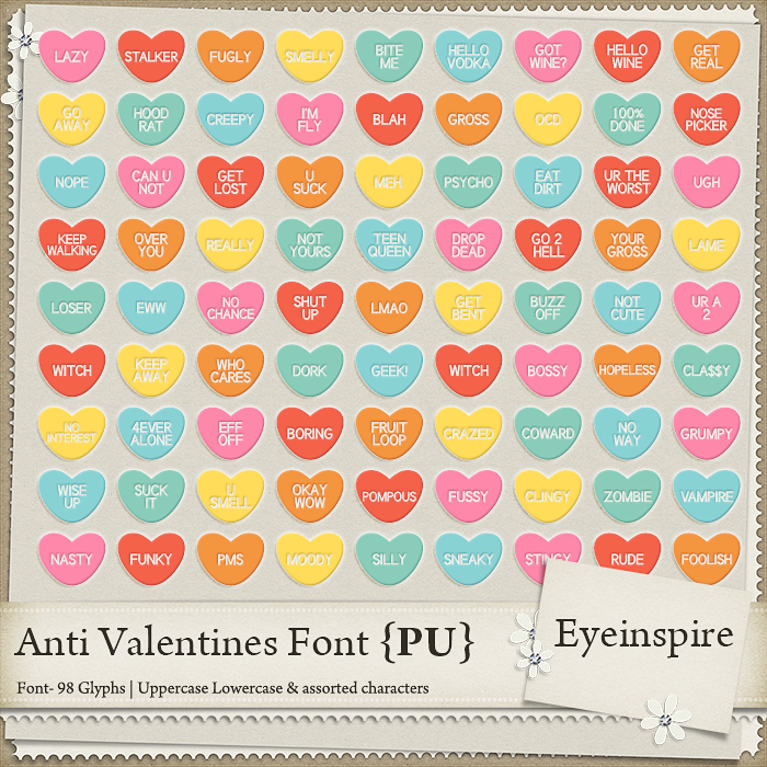 eyeinspire, digital scrapbooking, valentine, font, insult, funny, joke, rude, dingbat, graphics, scrapbook, scrapbooking, download, eyeinspire